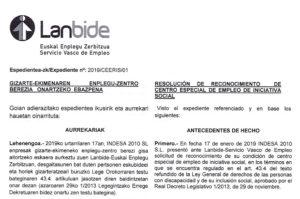Indesa 2010 recibe la calificación oficial de centro especial de empleo de iniciativa social